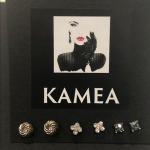 Kameakay three pair stud earrings.